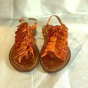 Sam Edelman Orange suede sandals sz 6.5 NBW